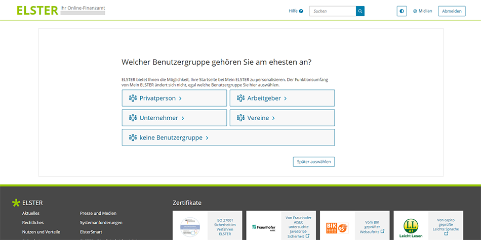 select a user group to personalize your ELSTER profile home page and be assigned to the relevant German Tax Profile