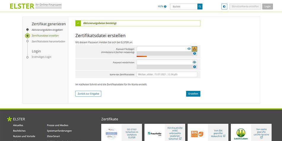 create a password in order to generate a Certificate File (Zertifikatsdatei) on ELSTER