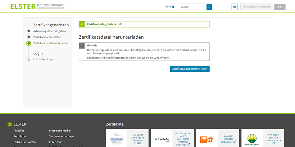 download and save your ELSTER Certificate File (Zertifikatsdatei)