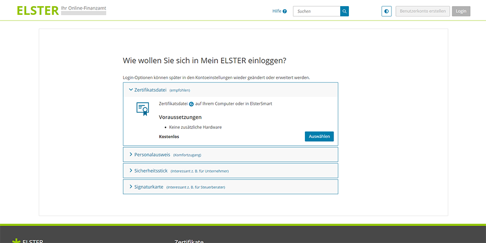 choose to log into ELSTER with a certificate file (zertifikatsdatei) to be able to file your German taxes for free