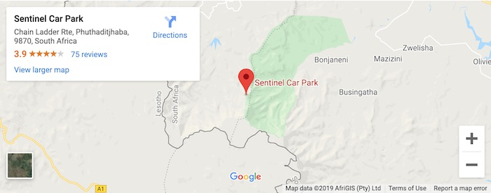 map of where to park for chain ladders hike in drakensberg mountains
