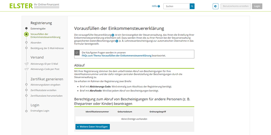 give ELSTER permission to retrieve your German income tax certificates