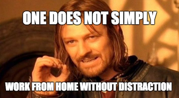 funny work from home meme about distractions
