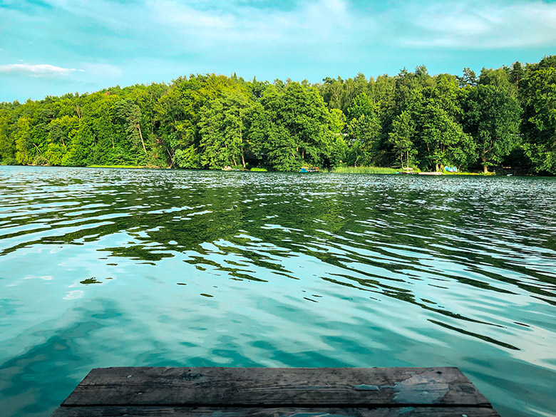 view of grosser werder island in the centre of liepnitzsee lake, one of the best lakes in berlin and brandenburg