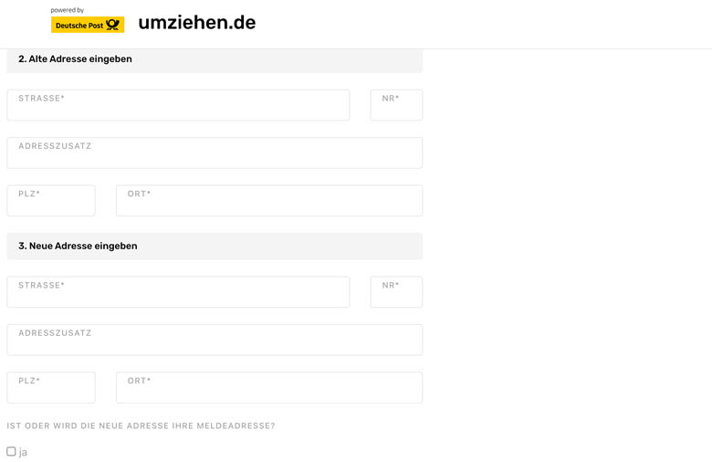 online form to redirect your mail from your old to new address in germany with deutsche post mail forwarding