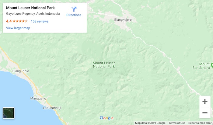 google map of where you can see orangutans in bukit lawang indonesia