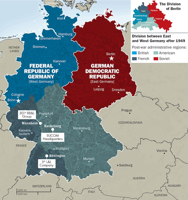 map of how germany as a country as divided into east and west germany during the cold war