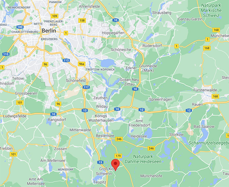 screenshot of google map image of berlin and surrounding brandenburg region with Tonsee shown on the south side of the city