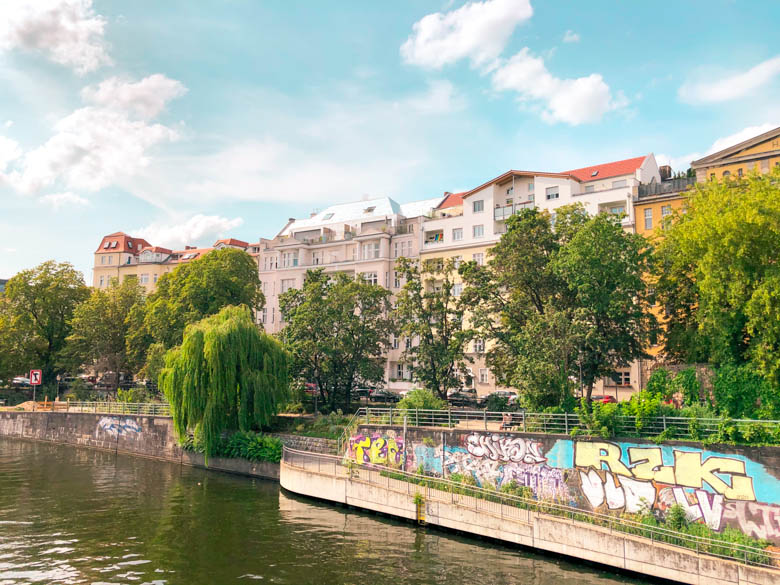 view of apartments in moabit district in berlin along the spree river