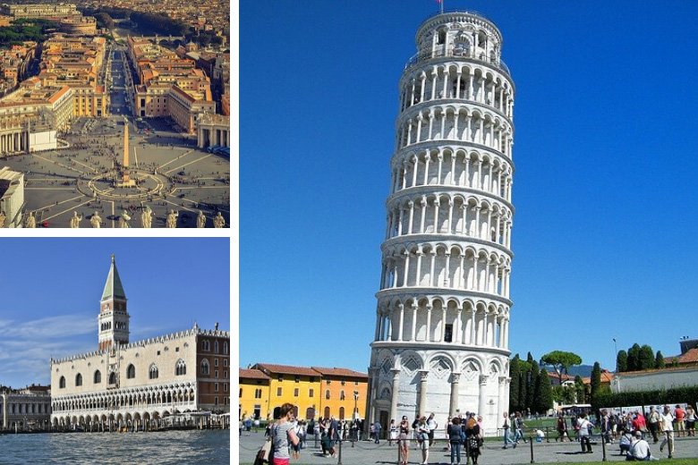 the leaning tower of pisa, vatican city and doge's palace