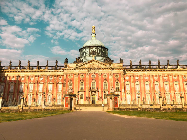 visiting neues Palais in Potsdam on a day trip from berlin during coronavirus times with no tourists in sight
