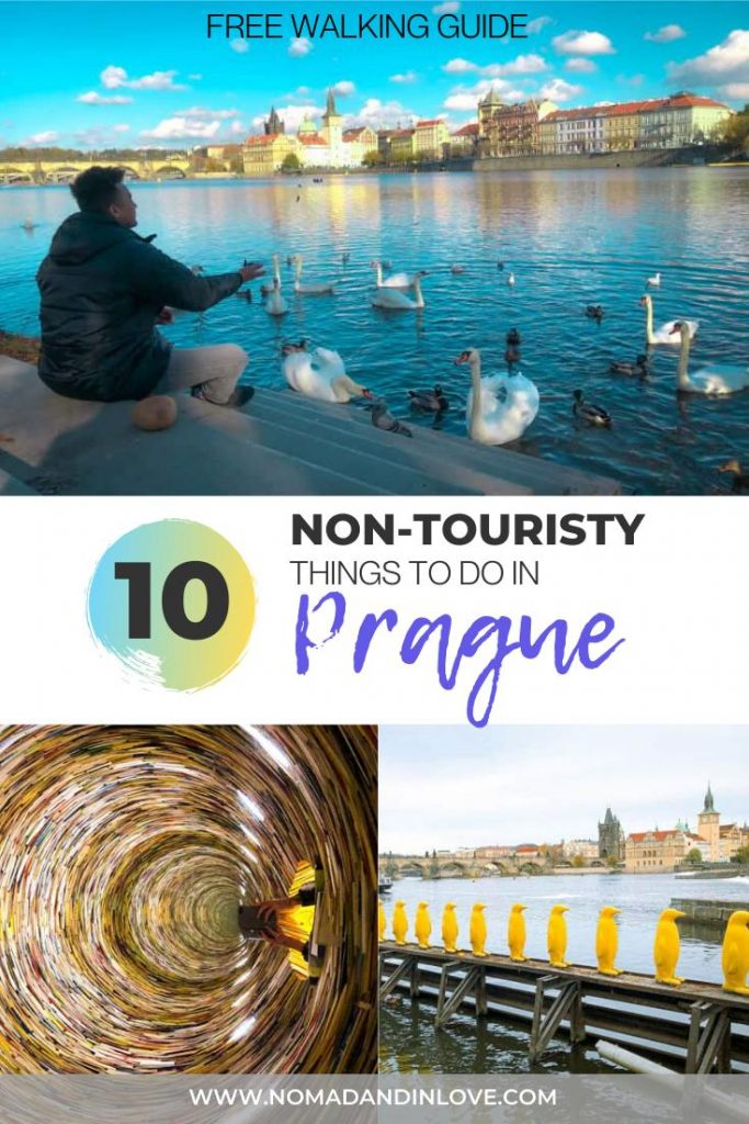 pinterest save image for a free walking tour to see non touristy places to visit in prague