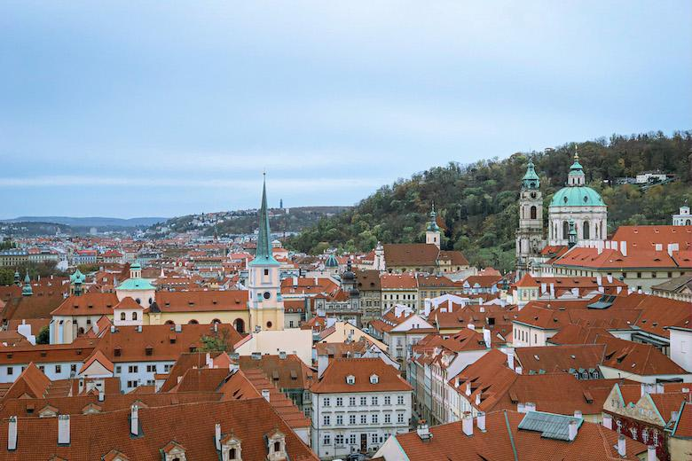 overlooking the more affordable accommodation area of mala strana