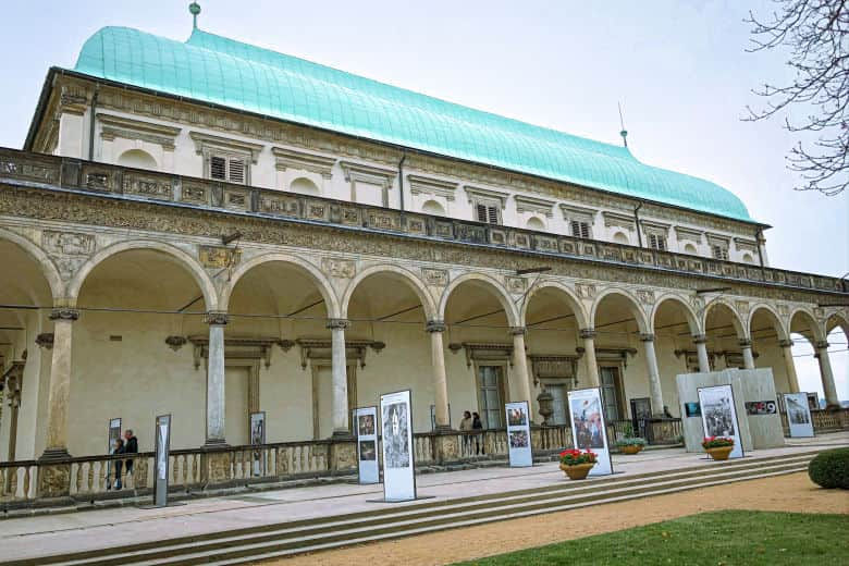 an art exhibition at queen anne's royal summer palace seen on a free prague walking tour