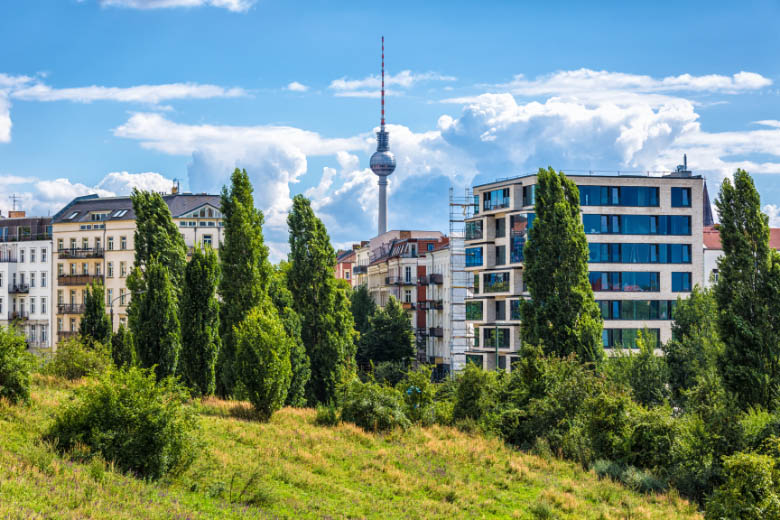view of prenzlauerberg suburb in berlin from mauerpark