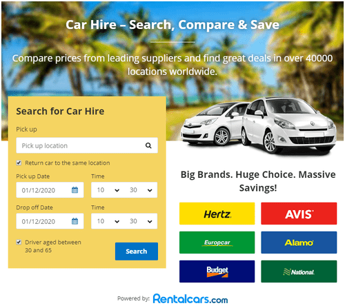 Rentalcars search form to find the cheapest car rental in south africa