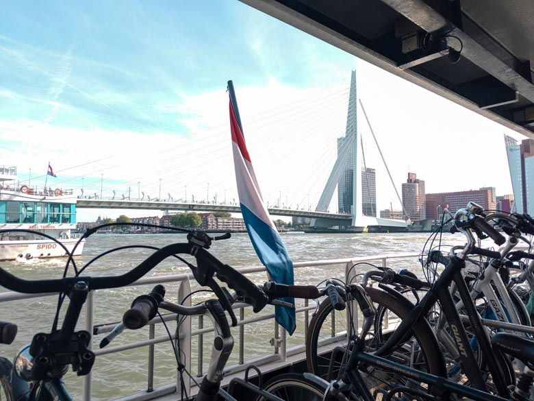 take your bike on the waterbus from rotterdam to kinderdijk windmills
