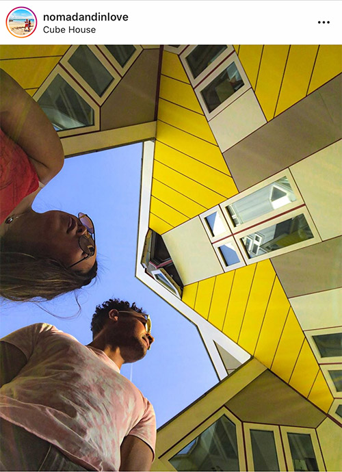 instagram photography spot at cube houses in rotterdam