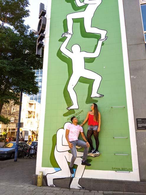 climb man ladder street art in rotterdam