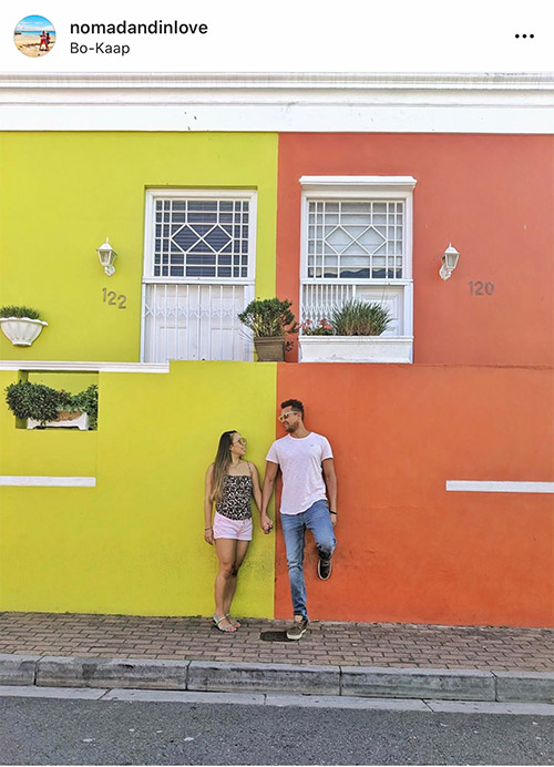 bokaap colourful area in cape town with bright walls