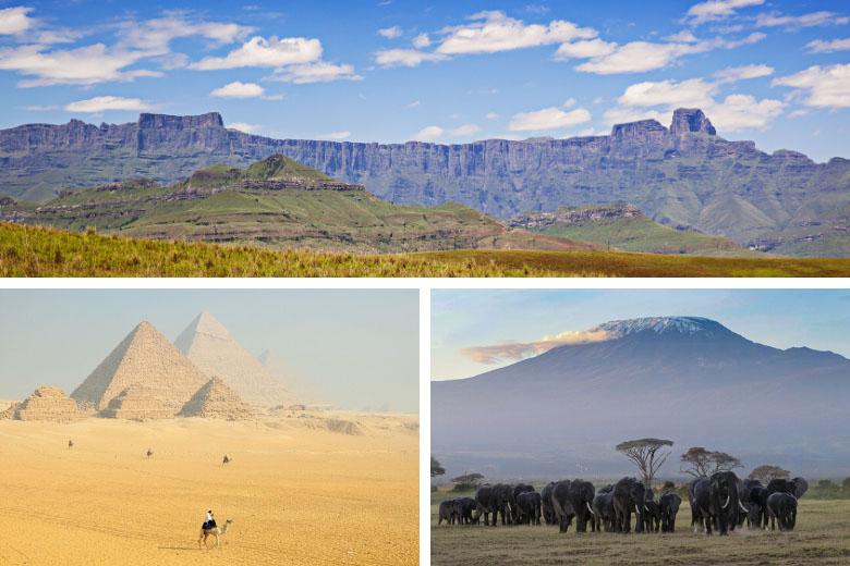 famous unesco world heritage sites in africa include the drakensberg mountains, great pyramids of egypt and kilimanjaro