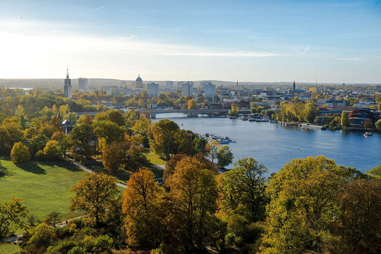 view over town of potsdam from the havel river in germany is one of the best day trips from berlin
