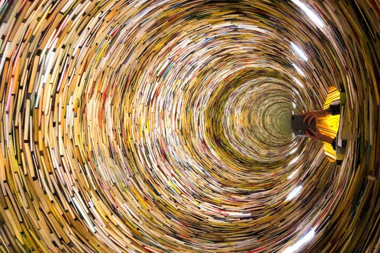 an infinity book tower art installation is an unique and unusual thing to do in prague