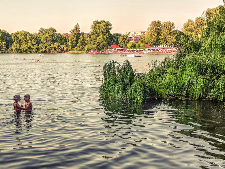 strandbad weissensee lake in berlin with its own beach