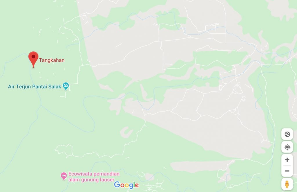 google map of the location of tangkahan elephant sanctuary