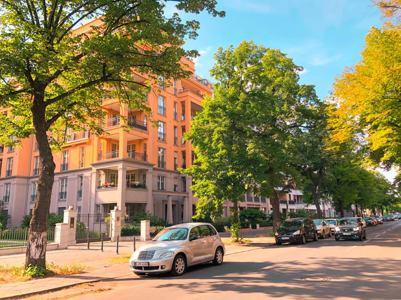 residential suburb in Berlin called Wilmersdorf with lines of trees and family friendly apartments