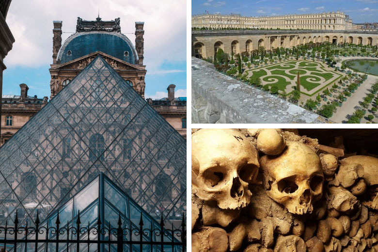 famous sightseeing spots in france include the louvre museum, palace of versailles and the catacombs of paris