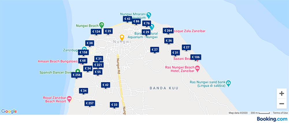map of zanzibar hotels with prices and room rates per night